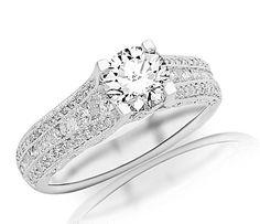 1.7 Carat IGI Certified 14K White Gold Gorgeous Channel And Pave Set Graduating Round Designer Diamond Engagement Ring