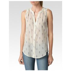 PAIGE Bonnie Top - White/Evening Blue/Orchid-Ikat ($149) ❤ liked on Polyvore featuring tops, tanks and camisoles, white tank, camisole tank tops, white singlet, sleeveless tank and white camisole