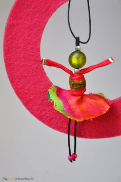 handmade silk dancer pendant necklace in fuchsia by synopsisnops
