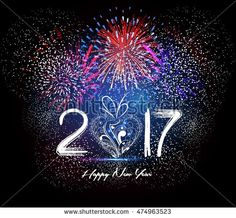 Happy New Year 2017 heart and Fireworks