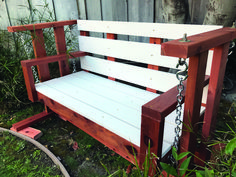 Discover front porch swing daylily only in homestre design Porch Swing Frame, Diy Swing, Patio Swing, Porch Swings, Porch Glider Plans, Patio Glider, Diy Outdoor Furniture, Outdoor Decor, Deck Furniture