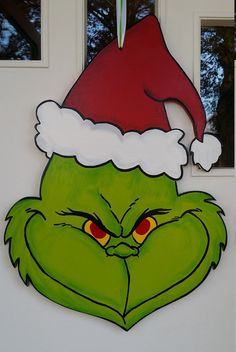 Grinch Door Hanger by DecadentDoorsbyMandy on Etsy