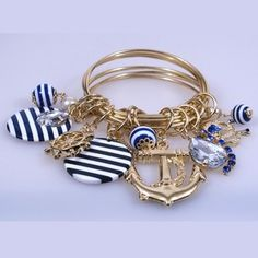 "Ladies ""Anchors Away"" Nautical Fashion Bracelet - Gold BR5138 $9.99"