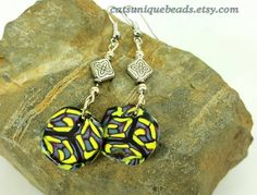 Blue, Black and Yellow abstract dangle bead earrings - Item #E1088 - Polymer Clay earrings - Women' earrings - pinned by pin4etsy.com