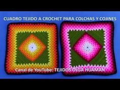 Knitting Squares, Crochet Squares, Crochet Granny, Knit Crochet, Crochet Hats, Crochet Basket Pattern, Crochet Diagram, Granny Videos, Pinterest Crochet
