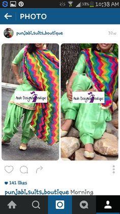 Mint plain patiala suit with multicolour duppata
