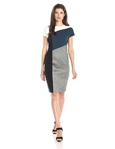 Anne Klein Women's Cap Sleeve Angles Seams Sheath Dress - http://dressfitme.com/anne-klein-womens-cap-sleeve-angles-seams-sheath-dress/