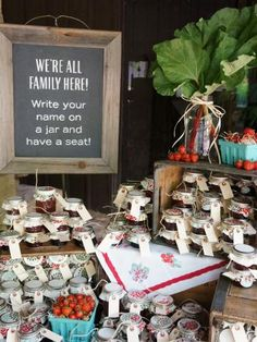jam favors in a rustic/farmers market type display
