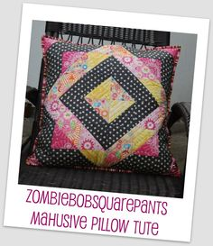 "zombiebobsquarepants 24"" sq pillow and tutorial. Add borders to make into baby quilt"