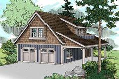 Craftsman Plan: 838 Square Feet, 1 Bathroom - 035-00857 Garage Guest House, Carriage House Garage, Car Garage, Garage Loft, Garage Shop, Garage Apartment Plans, Garage Apartments, Carriage House Apartments, Outside Stairs