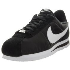 Nike Men s Cortez Basic Nylon Black White Metallic Silver Casual Shoe  Indulge in track-running nostalgia with the Nike Cortez shoe. 78dc805dc