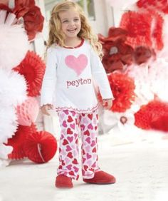 girls personalized glitter heart pj's - Only at Chasing Fireflies - These darling pj's make a fun way to mark the red-letter day we all love.