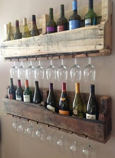 this is genius - it would be perfect for displaying used bottles as well as full bottles. Must make this!