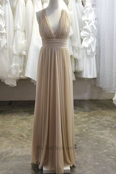 Long Champagne Sexy Deep V-neckline Bridesmaid Dress