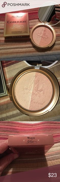 Too Faced Candlelight Glow Highlighting Powder Duo Too Faced Candlelight Glow Highlighting Powder Duo. Warm Glow Too Faced Makeup Luminizer