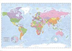 Polityczna mapa Świata (Miller Projection) - plakat - 140x100 cm  Gdzie kupić? www.eplakaty.pl