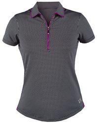 Mrs Golf - Ladies Golf Apparel, Shoes, Accessories - JoFit Redondo Beach Short Sleeve Vented Polo in Microdot #mrsgolf