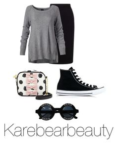 """""""College"""" by karebearbeauty ❤ liked on Polyvore featuring Roland Mouret, Betsey Johnson, Converse and Chanel"""