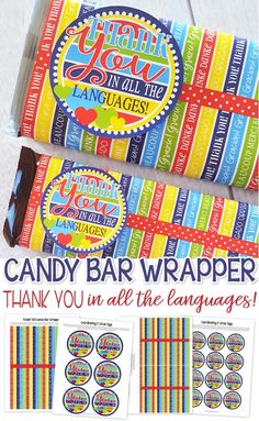 Super Cute THANK YOU Printable!! Printable candy bar wrapper to say thank you in all the languages! thank you gift idea, favor #mycomputerismycanvas