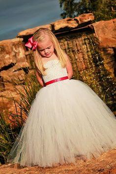 Newborn  Size 9 White Flower Girl Tutu Dress by krystalhylton, $45.00