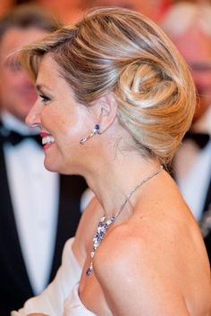 Queen Maxima's hair looked wonderful done up in a chignon. 2014