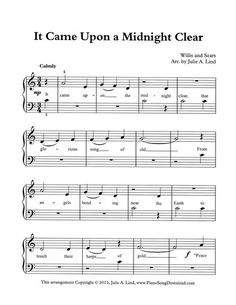 It Came Upon A Midnight Clear, easy beginning sheet music of this favorite Christmas carol.