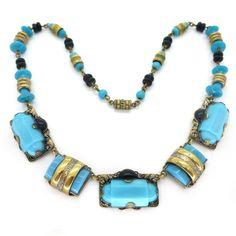 Vintage Czech Art Deco Blue Black Glass Panel Gold Tone Necklace | Clarice Jewellery | Vintage Costume Jewellery