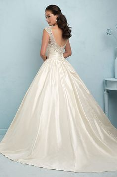 Taffeta ball gown wedding dress with Swarovski crystal encrusted cap sleeves and V back. Allure, 2015