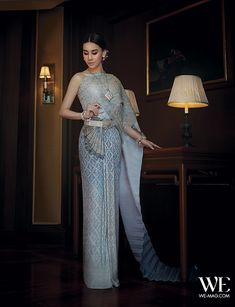 Traditional Thai Wedding Dress in Blue by Milan Bridal Couture & Wedding Studio