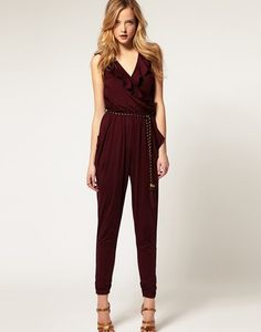 jumpsuit wine-red