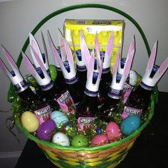 Diy easter basket for him boyfriend husband fiance holiday easter basket for the hostess with the mostest bunny beer as my son negle Image collections