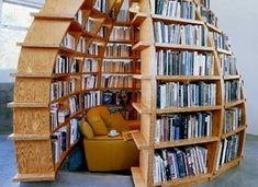 17 Book Nooks for Antisocial Readers We love these book nook ideas, including this cozy reading nook tucked into the walls of an acorn-like bookshelf. Library Room, Dream Library, Library Ideas, Future Library, I Love Books, Books To Read, Mini Loft, Home Libraries, Book Storage