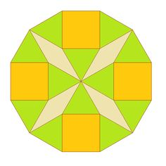 Dodecagon Diagonals - tiling with squares, triangles and diamonds