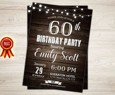 Surprise 60th birthday invitation. Man Surprise by TopDigitalArt