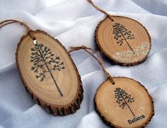 3 RUSTIC CHRISTMAS ORNAMENTS Woodland Christmas by HudsonBlockCo, $18.00