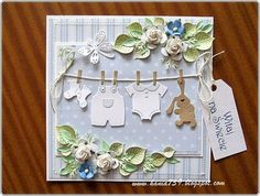 card baby clothes onesie flowers clothes clothesline cottage cutz welcome birthday congratulations bundle of joy new kid
