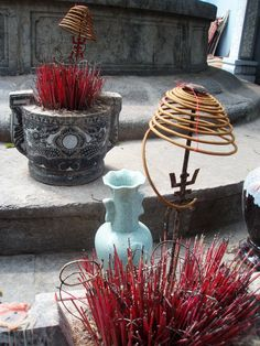 incense at a temple in Hanoi, Vietnam