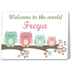 Personalised Owl New Baby Girl , Birth Congratulations Card £2.75