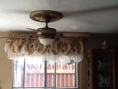 Ballon valance  burlap and lace by EwcHomeDesigns on Etsy, $105.00