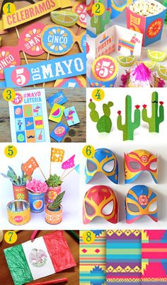 DIY templates, printable Cinco de Mayo crafts! DIY Invitations, Mexican flags, ponchos, pinatas, color in pages, plus more. Fun DIY 5 de Mayo party ideas!