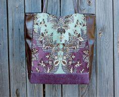 Handmade leatherette and velvet boho bag / casual bag / tote bag / shoulder bag / hipster bag / Bohemian bag / tote / purple, turquoise / сумка ручной работы / сумка Бохо