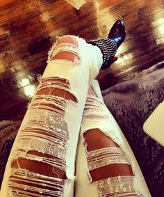Ripped Skinny Jeans wish I had the legs for these