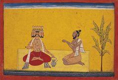 École Pahari, Le dieu Brahma vient trouver Valmiki, National Museum, New Delhi. © Courtesy of the National Museum, New Delhi / Photo Munish Khanna.