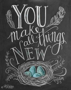 Items similar to Spring Art - Easter Print - Birds Nest - Robins Egg Blue Decor - Chalk Art - You Make All Things New - Feather Illustration - Scripture Art . Chalkboard Lettering, Chalkboard Designs, Chalkboard Ideas, Chalkboard Fridge, Chalkboard Quotes, Kitchen Blackboard, Chalkboard Doodles, Chalkboard Printable, Chalkboard Drawings
