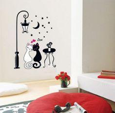 Moon Star Cat Love Lamppost Removable Vinyl Wall Sticker Decal Art Home Decor