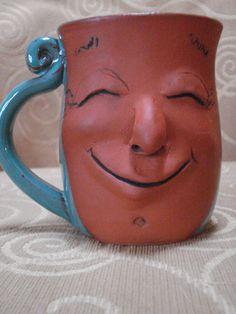 Face Mug in aqua glaze