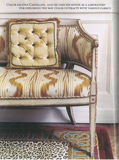 In a bedroom a painted settee covered in Pierre Frey's toile de Nantes is accented with pillows covered in the family's C&C Caramel silk. Dreams Are Made of This Pierre Frey, Interior Styling, Interior Decorating, Interior Design, Milan Apartment, Apartment Living, Bali, Settee Sofa, Wingback Chair
