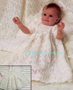 Beautiful Baby Girl's 4 ply Christening Gown  by avintagescot