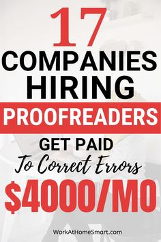 Work From Home Companies, Work From Home Opportunities, Legit Work From Home, Work From Home Jobs, Earn Money From Home, Way To Make Money, Making Money From Home, Companies Hiring, Proofreader
