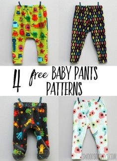 Four free baby pants sewing patterns tested and sewn up! Great gifts to sew for babies, these free kid sewing patterns are super cute. #sewing #sewingforbabies #freesewingpatterns
